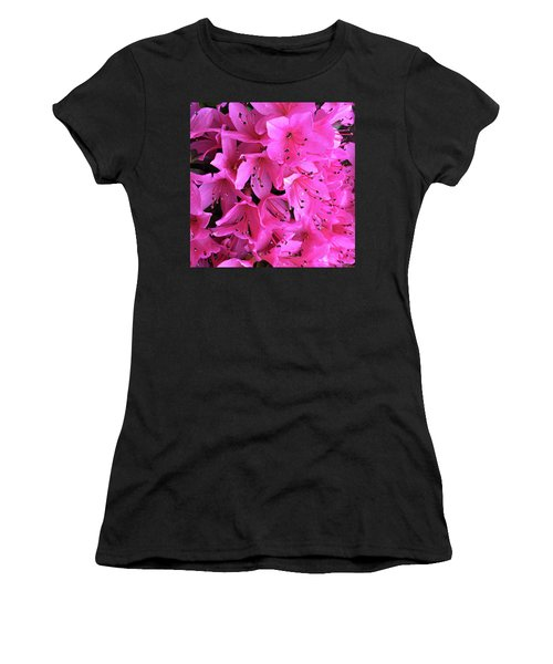 Women's T-Shirt (Junior Cut) featuring the photograph Pink Passion In The Rain by Sherry Hallemeier