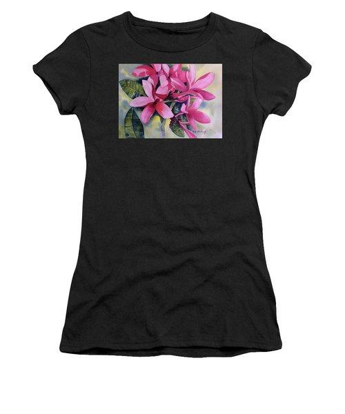 Pink Plumeria Flowers Women's T-Shirt