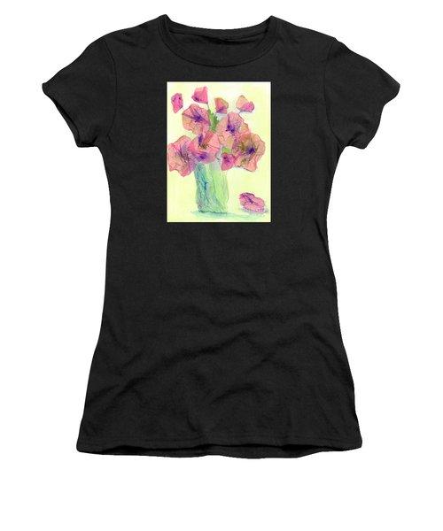 Pink Poppies Women's T-Shirt (Junior Cut) by Veronica Rickard