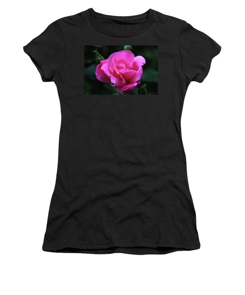 Pink Rose With Raindrops Women's T-Shirt