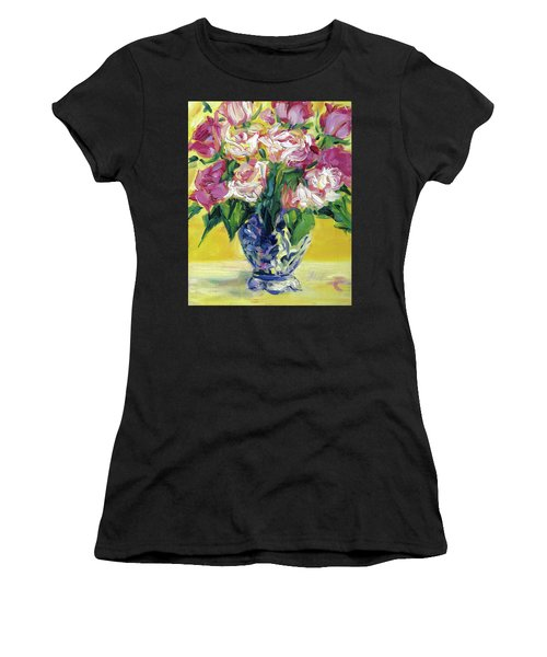 Pink Roses In Blue Deft Vase Women's T-Shirt