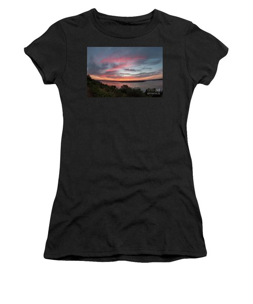 Pink Skies And Clouds At Sunset Over Lake Travis In Austin Texas Women's T-Shirt