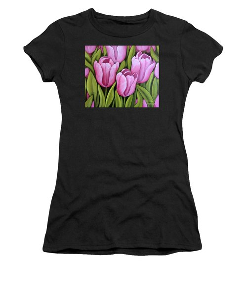 Pink Spring Tulips Women's T-Shirt (Athletic Fit)