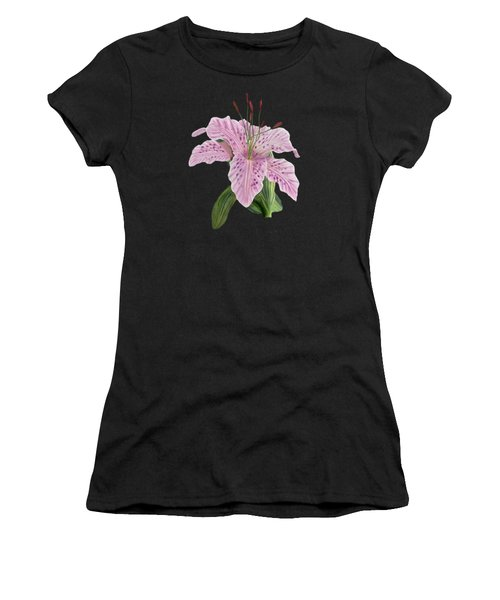 Pink Tiger Lily Blossom Women's T-Shirt (Junior Cut) by Walter Colvin
