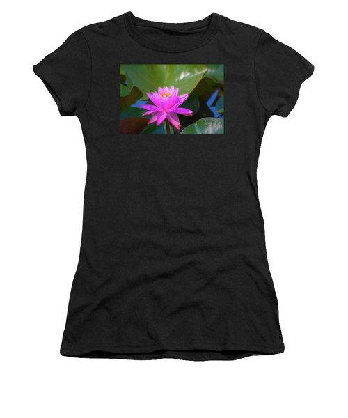 Pink Water Lilly And Ladybugs Women's T-Shirt
