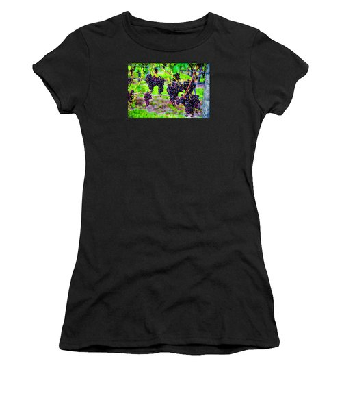 Women's T-Shirt (Junior Cut) featuring the photograph Pinot Noir Grapes by Rick Bragan