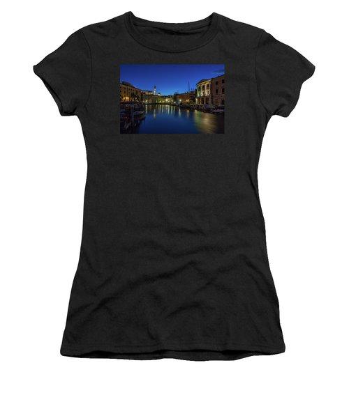 Women's T-Shirt (Athletic Fit) featuring the photograph Piran Marina Dawn - Slovenia by Stuart Litoff