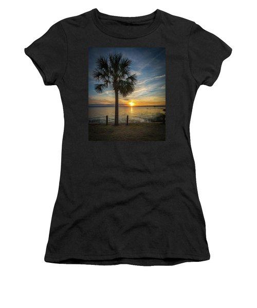 Pitt Street Bridge Palmetto Tree Sunset Women's T-Shirt