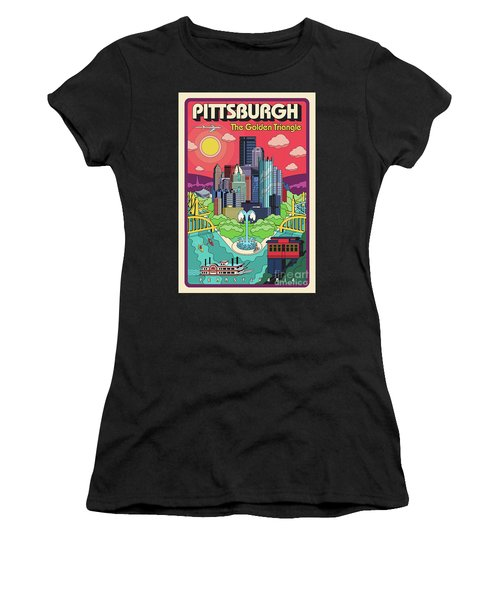 Pittsburgh Pop Art Travel Poster Women's T-Shirt (Athletic Fit)