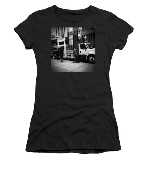 Pizza Oven Truck - Chicago - Monochrome Women's T-Shirt (Junior Cut) by Frank J Casella