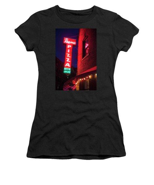 Pizzeria Regina Boston Ma North End Thacher Street Neon Sign Women's T-Shirt