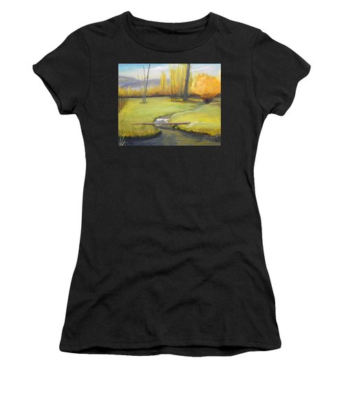 Placid Stream In Field Women's T-Shirt (Athletic Fit)