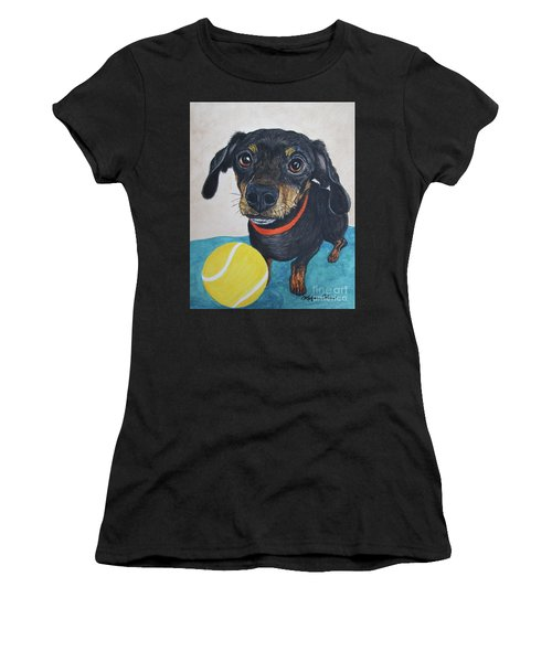 Playful Dachshund Women's T-Shirt (Athletic Fit)
