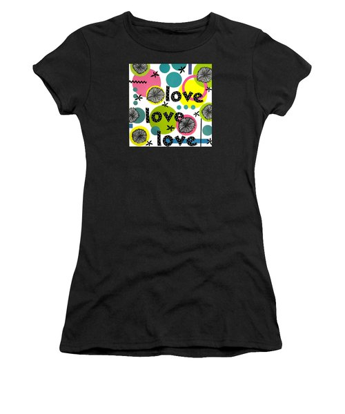 Women's T-Shirt (Junior Cut) featuring the mixed media Playful Love by Gloria Rothrock