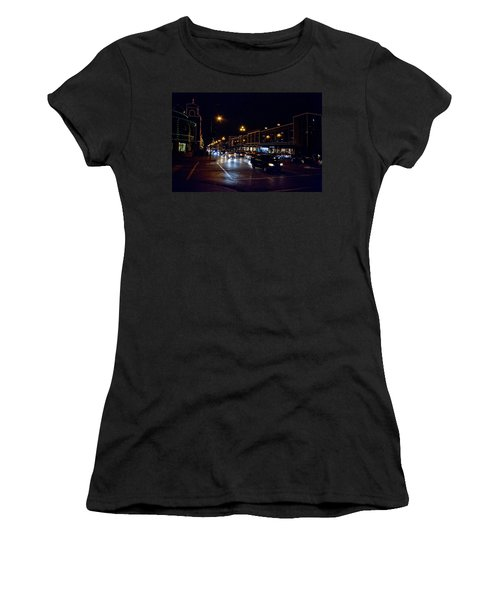 Women's T-Shirt featuring the photograph Plaza Lights by Jim Mathis