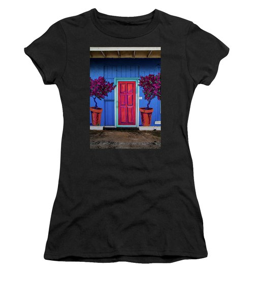 Please Use Other Door Women's T-Shirt (Junior Cut) by Roger Mullenhour