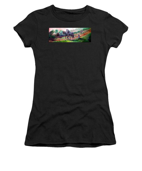 Ploughing Women's T-Shirt (Junior Cut) by Paul Weerasekera