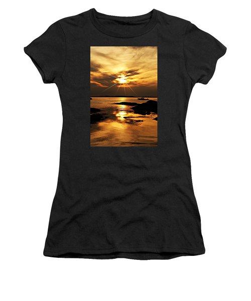 Plum Cove Beach Sunset E Women's T-Shirt (Athletic Fit)