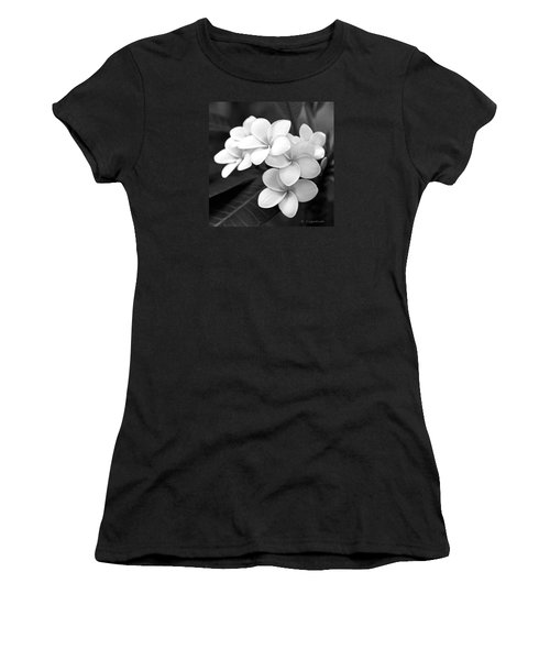 Women's T-Shirt (Junior Cut) featuring the photograph Plumeria - Black And White by Kerri Ligatich