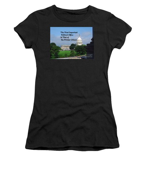 Political Statement Women's T-Shirt (Junior Cut) by Gary Wonning