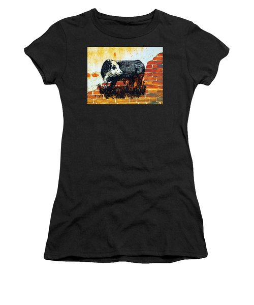 Women's T-Shirt (Junior Cut) featuring the drawing Polled Hereford Bull  by Larry Campbell