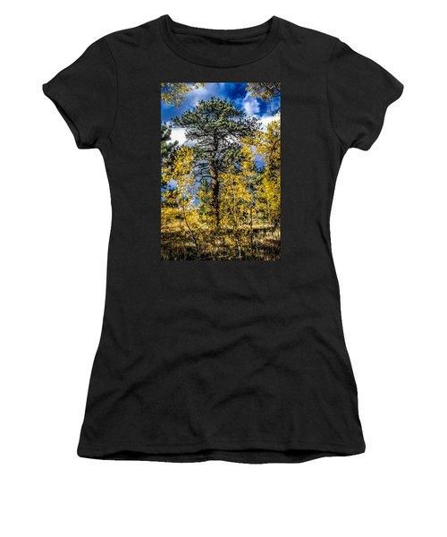 Ponderosa  Tree In The Aspens Of Fall Colorado Women's T-Shirt (Junior Cut) by John Brink
