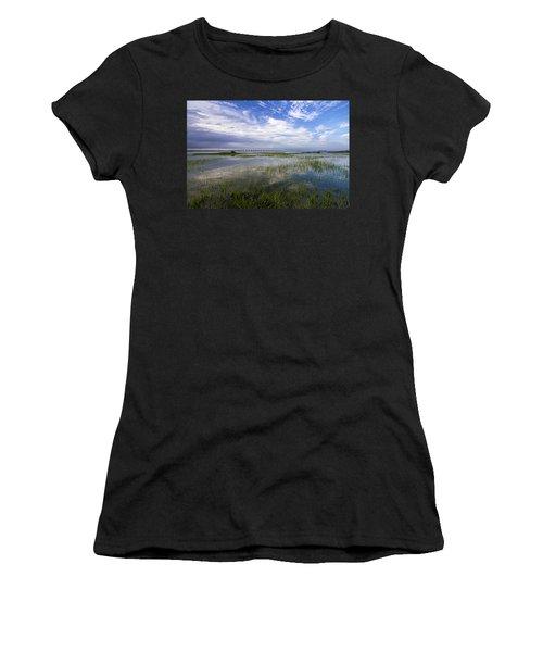 Ponquogue Bridge Springtime Women's T-Shirt (Athletic Fit)