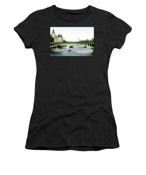 Pont Au Change Over The Seine River In Paris Women's T-Shirt (Athletic Fit)