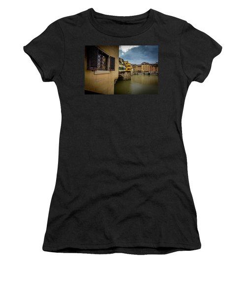 Women's T-Shirt (Junior Cut) featuring the photograph Ponte Vecchio by Sonny Marcyan