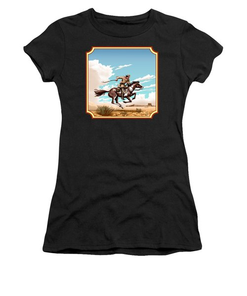 Pony Express Rider - Western Americana - Square Format Women's T-Shirt