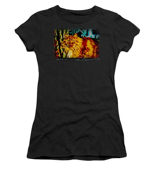 Pop Art Orange Tabby Cat Women's T-Shirt (Athletic Fit)