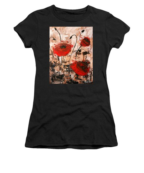 Pop Goes The Poppies Women's T-Shirt (Athletic Fit)