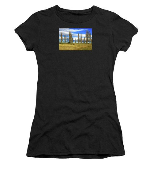 Poplars,fence And Grasses Women's T-Shirt