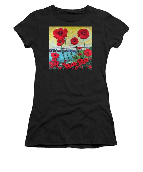 Poppies Along The Riverfront Women's T-Shirt