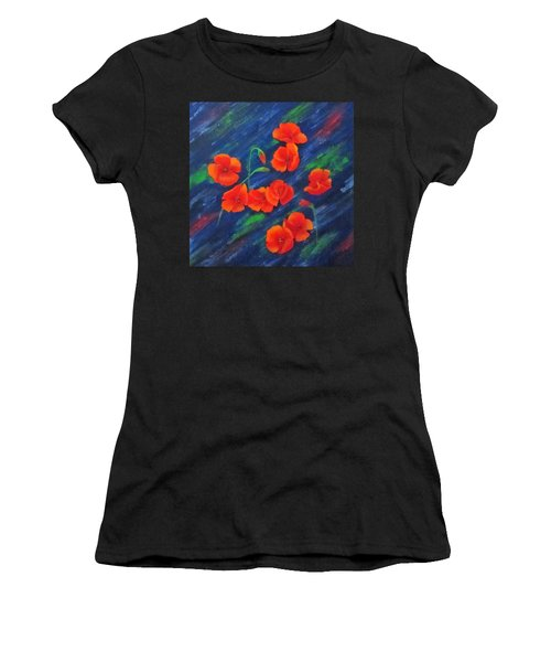 Poppies In Abstract Women's T-Shirt