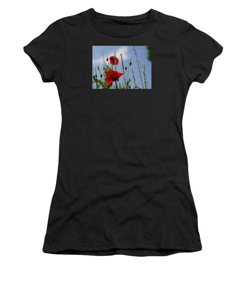 Poppies In The Skies Women's T-Shirt (Athletic Fit)