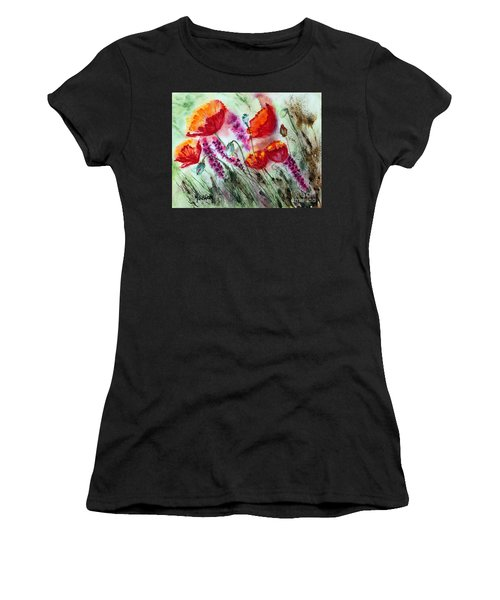 Poppies In The Wind Women's T-Shirt (Athletic Fit)