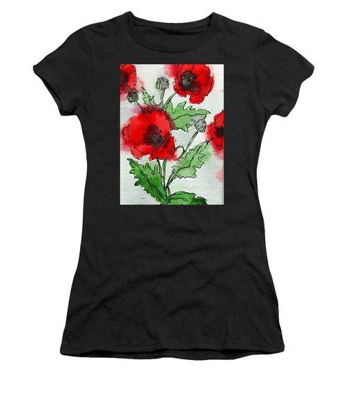 Watercolor Poppies Women's T-Shirt
