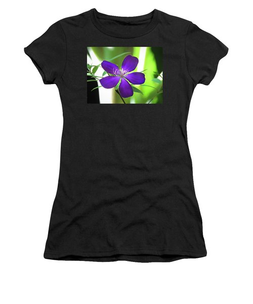 Women's T-Shirt featuring the painting Poppin Purple Flower by Penny Lisowski