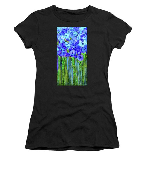 Women's T-Shirt featuring the mixed media Poppy Bloomies 2 - Blue by Carol Cavalaris