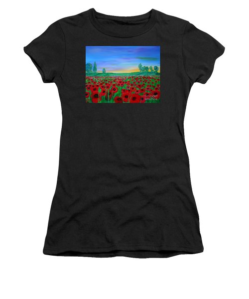 Poppy Field At Sunset Women's T-Shirt