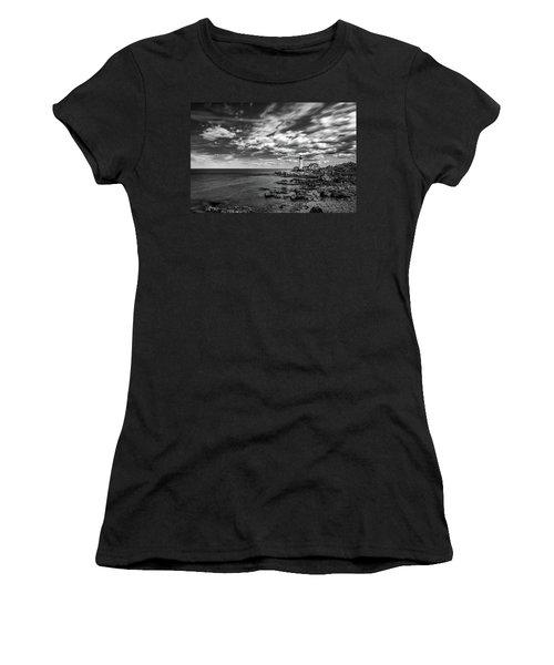 Portland Head Light In Black And White Women's T-Shirt