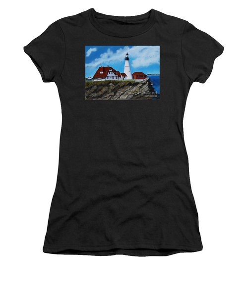 Portland Head Light In Maine Viewed From The South Women's T-Shirt (Athletic Fit)