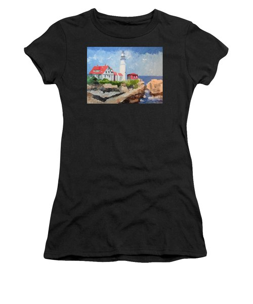 Portland Headlight By The Sea Women's T-Shirt