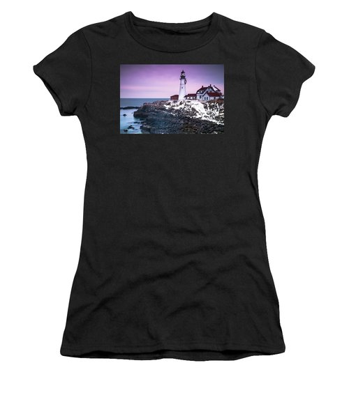 Maine Portland Headlight Lighthouse In Winter Snow Women's T-Shirt (Junior Cut) by Ranjay Mitra