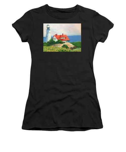 Portland Headlight With Brown Eyed Susans Women's T-Shirt