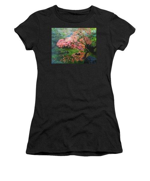 Portland Japanese Maple Women's T-Shirt (Junior Cut) by LaVonne Hand