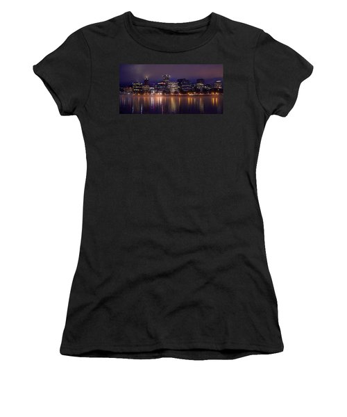 Portland Night Skyline Women's T-Shirt (Junior Cut) by Joseph Skompski