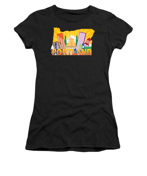 Portland Oregon Skyline In State Map Women's T-Shirt