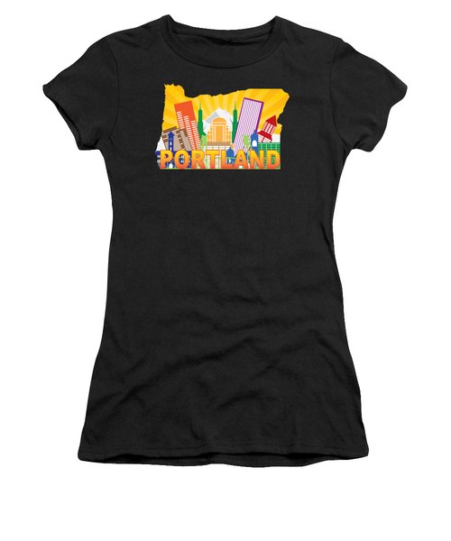 Portland Oregon Skyline In State Map Women's T-Shirt (Athletic Fit)